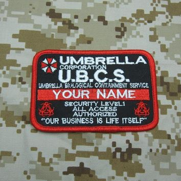 New style double biochemical threats logo Custom name tapes Resident Evil Umbrella Corporation Badges patch B3490