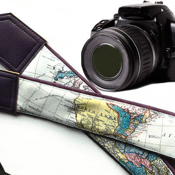 Dark Purple World Map Camera Strap. DSLR / SLR Camera Strap. For Sony, canon, nikon, panasonic, fuji and other cameras.