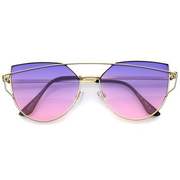 Midsize Matte Metal Frame Thin Temples Gradient Flat Lens Aviator Sunglasses 52mm