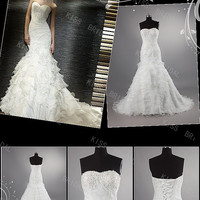 Fancy White Organza Sweetheart Strapless Sleeveless Embroidery Wedding Dresses
