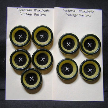 9 Vintage Celluloid Buttons Size 1 & One Eighth Inch, Dark Green and Yellow