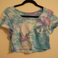 Handmade Blue, Purple and Pink Tie-Dye Women's Crop Top