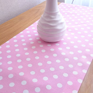 Light Pink Large Polka-Dot Table Runner, Modern Table Runner, Colorful Table Cover, Duck Tablecloth, Cotton Table Runner