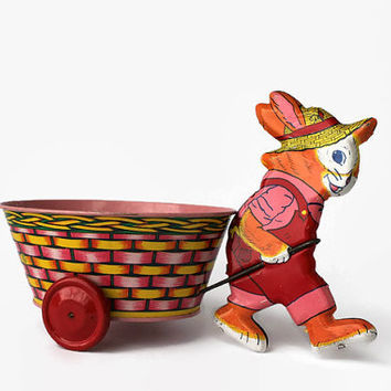 Vintage J. Chein Litho Tin Easter Rabbit & Basket Cart, Easter Bunny Tin Pull Toy, Vintage Easter Decoration
