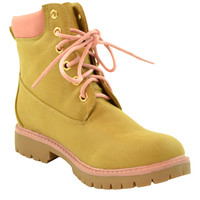 Womens Ankle Boots Lace Up Lug Sole Color Block Booties Tan