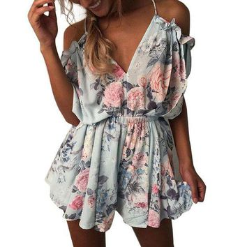 CREYCI7 2017 New Women Summer V Neck Jumpsuit Bohemian Style Off Shoulder Beach Elegant Ruffles Print Romper Boho Jumpsuit