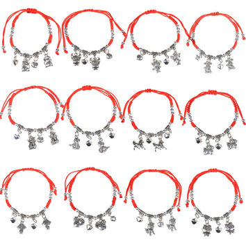 Lychee 1 piece Chinese Style Chinese Zodiac Signs Pendant Red String Bracelet Feng Shui Good Luck Jewelry