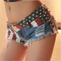Jeans Shorts with US Flag LR001