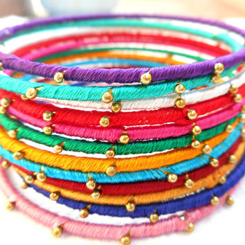 Metal Indian bangles set of 12 | multicolor bangles | Indian bracelet | kada | Thread wrapped bangles | metal bangles | bollywood bangles