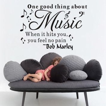 One good thing about music bob marley vinyl quote wall decal home decor diy wallpaper removable wall stickers