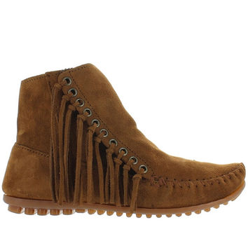 Minnetonka Willow - Dusty Brown Suede Side Fringe Moc Bootie
