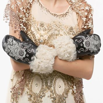 Nappaglo Fashion Lady Gloves Women's Genuine Italian Lambskin Leather with Wool Gloves Handmade Embroidery Winter Warm Gloves