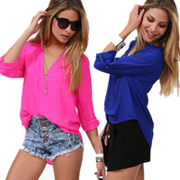Summer Long Sleeve V-neck Shirt [6259168900]
