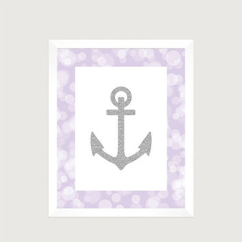 Nautical Silver Anchor Lavender Print Nursery Decor Baby Print CUSTOMIZE YOUR COLORS 8x10 Prints Nursery Decor Art Baby Room Decor Kids