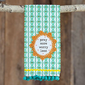 Natural Life HTWL025 Crochet Hand Towel, Pray More