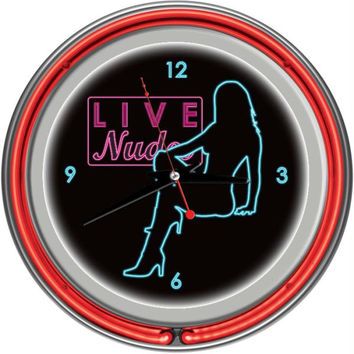 Shadow Babes - D Series - Clock w- Two Neon Rings - Red