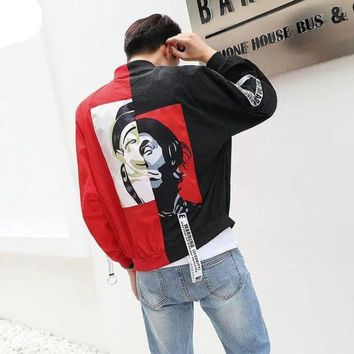 Hip Hop Jacket Black Red Patchwork Bomber Jackets Men Streetwear Coat US Size M-XXXL