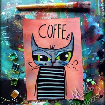 Watercolor painting cat , Coffee decor , original artwork on paper - orange, cat decor , fine art