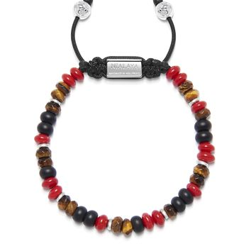 Men's Beaded Bracelet with Red Coral, Brown Tiger Eye and Matte Onyx