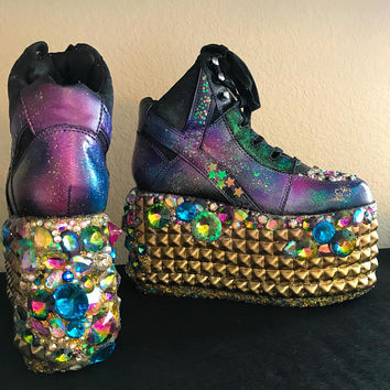 PreMade Galaxy Inspired Platform Shoe, Galaxy Inspired Platform Sneaker, YRU Platform Size 6, Rave Shoes, YRU Qozmo Size 6.5, Rave Shoes