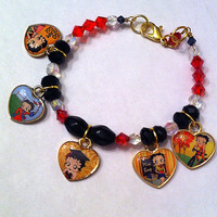 Back to school Betty Boop heart charm bracelet in red,black,and white graduation gift, Betty Boop bracelet, school bracelet, graduation gift