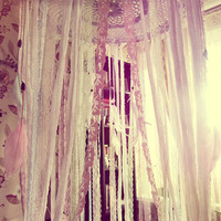 King Size Bed Canopy - Laces Bed Crown Tent - Bohemian Bedroom Decor - Gypsy Boho Bedding -  Boho Wedding Gift - Made to Order