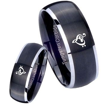 His Her Matte Dome Music & Heart Two Tone Tungsten Carbide Wedding Rings Set