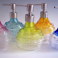 Hand Blown Art Glass Vanity Soap / Lotion Dispenser by Rebecca Zhukov