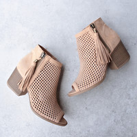 Olivia perforated ankle booties - toffee