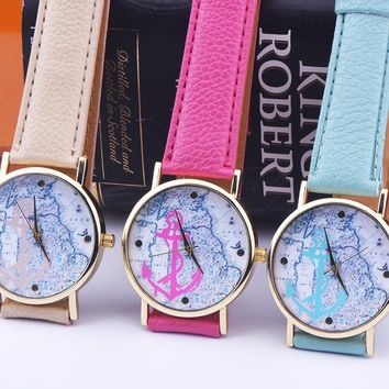 New Women Men World Map and Anchor Leather Strap Watch Fashion Classic Lover Watches + Gift Box