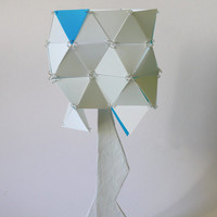 Geometric triangle table lamp blue and white origami latern