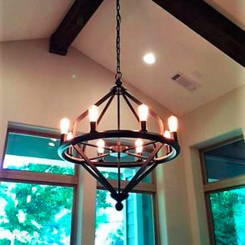 Copper Chandelier Pendant Light Copper Light Fixture Rustic Lantern Antique Vintage Modern Electric Interior Lights Tahoe