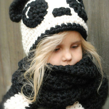 Winter Crochet Children Hat Neck Warmer Wrap Scarf One-piece Beanie for Kids Hats Cute Panda Collar Boy Girl Gifts