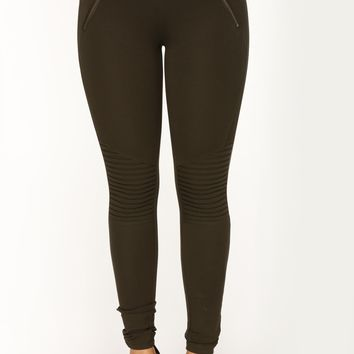 Baddie Club Ponte Motto Leggings - Olive