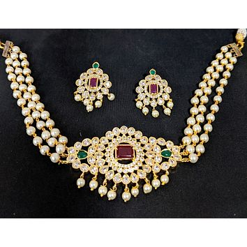 Pearl bead chain - One gram gold choker necklace and Stud earring set - CZ stone