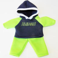 bitty baby clothes american made doll 15 inch twin boy, football fan, Seattle, embroidered hoodie, Navy Blue pants, adorabledolldesigns