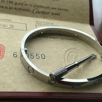 CARTIER 18k White Gold 4 DIAMOND LOVE BRACELET AUTHENTIC WITH NEW SCREW SIZE*17