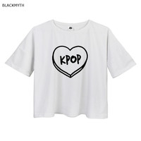 BLACKMYTH Women T Shirt Crop Top KPOP Pink Short Casual short Loose White Tops Summer shirts female cropped tshirt