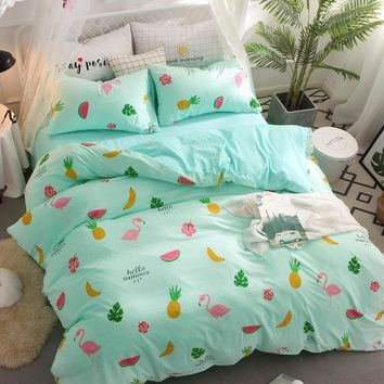 Cool New green Fruits Bedding Sets printed pineapple watermelon duvet cover sets sheets queen twin full king size kid girl bedclothesAT_93_12