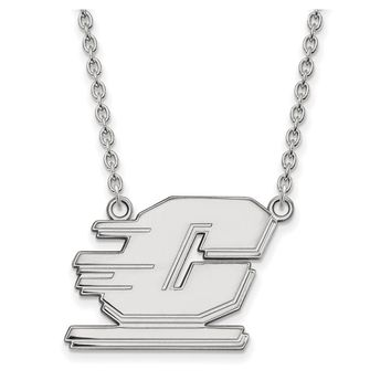 NCAA 14k White Gold Central Michigan U Large Pendant Necklace