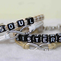 couples word bracelets,SOUL SISTERS bracelet,BFF infinity gift for best friends,gift for Valentine's Day/birthday/Anniversaries/Memorial Day