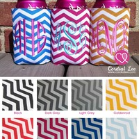 Preppy Monogrammed Chevron Koozie by Cordial Lee