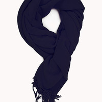 FOREVER 21 Cozy Fringed Scarf Navy One