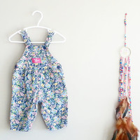Baby Shower~ Baby Girl Clothing~ Baby Gift~ Baby Clothes~ 6-9 months girl outfits~ Baby Girl Romper~ Vintage FLORAL Denim Overalls~ OshKosh