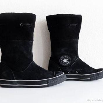 DCKL9 Converse winter boots in black suede leather with soft fleece cuffs, calf high Convers