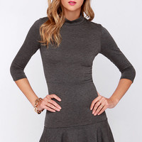 Mock and Roll Charcoal Grey Dress