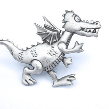 Vintage JJ Dragon Brooch,Large Pewter Dragon Pin,70s-80s Pin,Vintage Novelty Pin,Animal Pin,Novelty Pewter Jewelry,SIGNED JJ Jonette Jewelry