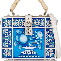 Dolce & Gabbana - Dolce leather-trimmed engraved wood shoulder bag