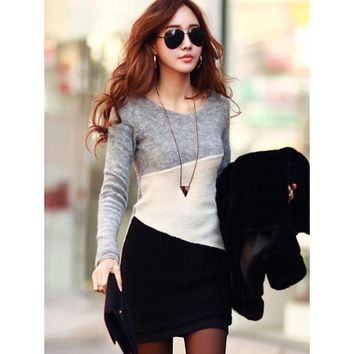 Young17 Sheath Sweater Dress Women Gray Long Sleeve O-Neck Chic Contrast Color Woolen Fabric High Street Pullover Mini Dress