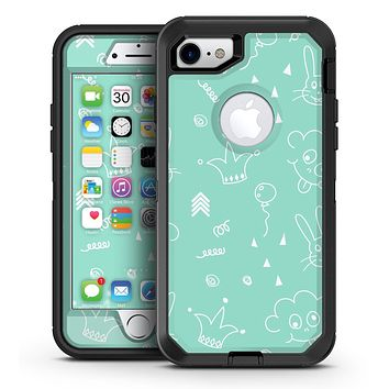 Teal Joker Mint Pattern - iPhone 7 or 7 Plus OtterBox Defender Case Skin Decal Kit